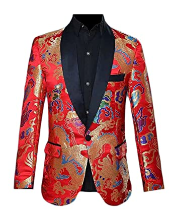 HTOOHTOOH Mens Spring Slim Fit Groom One Button Suit Embroidery Printing  Suit Blazers Red XXS 61d032e71