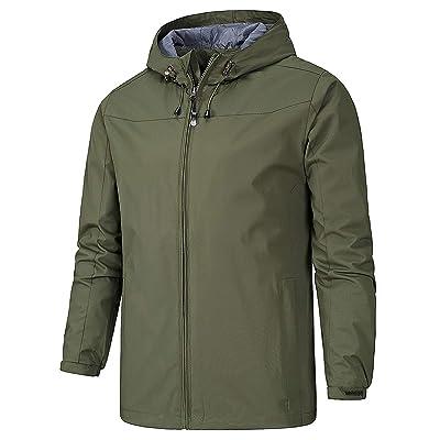 AIEOE Men's Waterproof Windproof Hiking Jacket Comfortable Outdoor Solid Color Coat for Men: Clothing