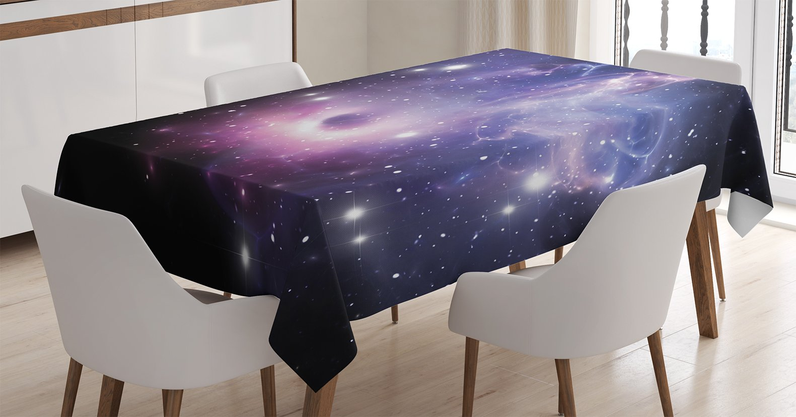 Ambesonne Space Decorations Tablecloth, Black Hole in the Nebula Gas Cloud in Outer Space Universe Astro Solar System Print, Rectangular Table Cover for Dining Room Kitchen, 60x84 Inches, Navy Purple