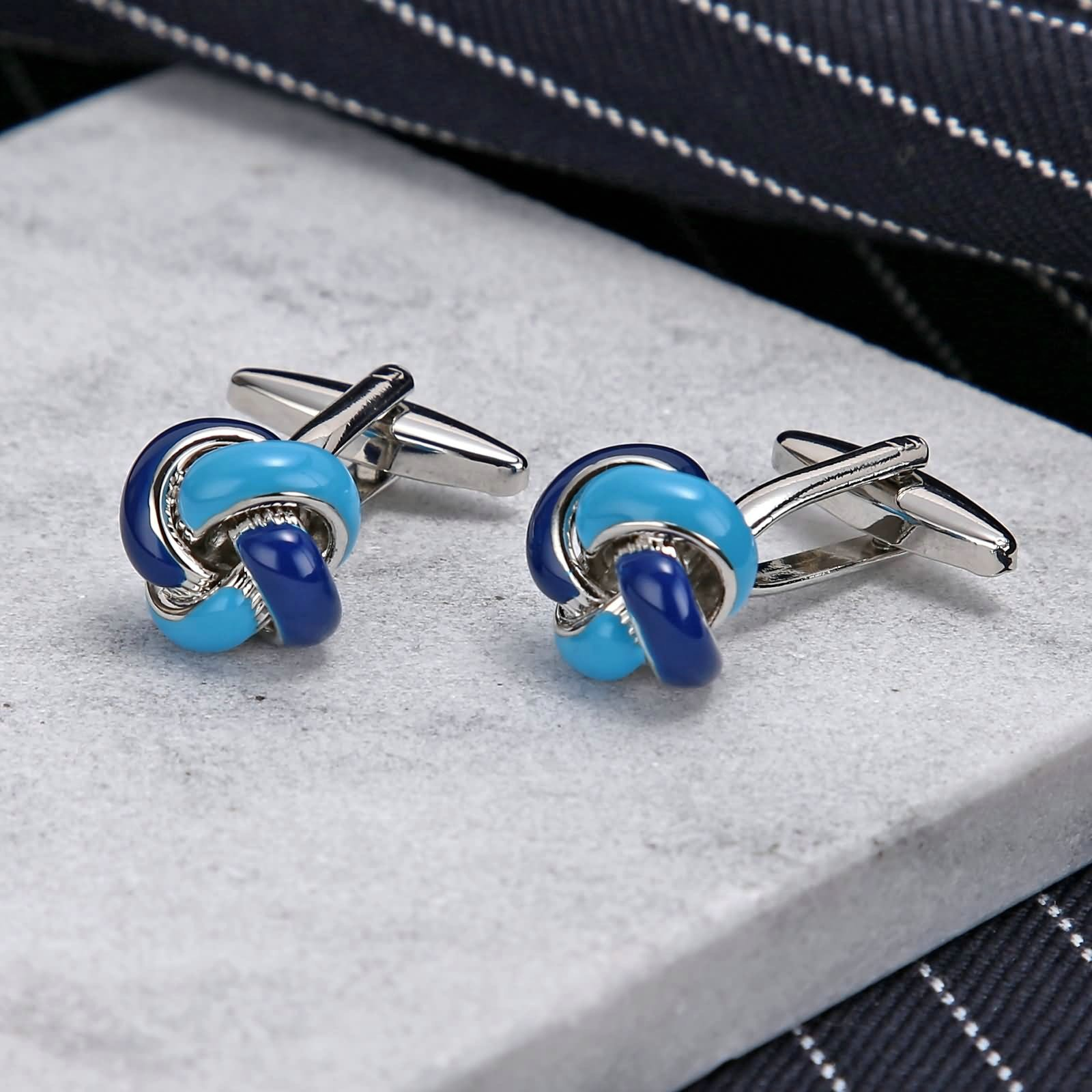 Aokarry Cufflinks-Men's Stainless Steel Love Knot Cuff Links Blue by Aokarry (Image #3)