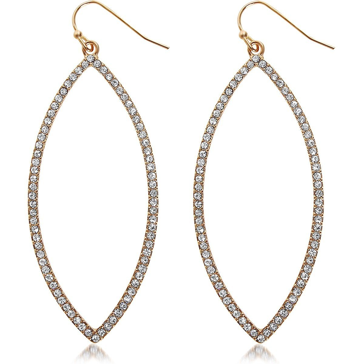 Humble Chic Hoop Dangle Earrings - Simulated Diamond Marquise Teardrop Statement Rhinestone Drops, Gold-Tone