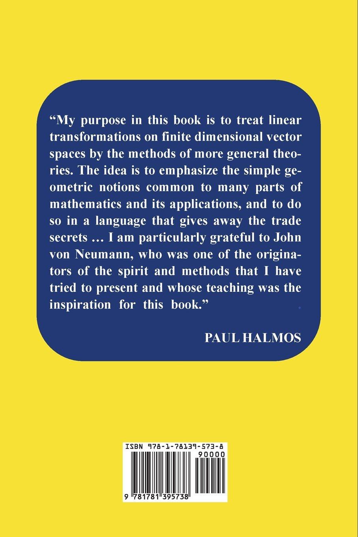 Finite dimensional vector spaces paul halmos 9781781395738 books amazon ca