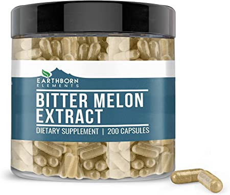 Bitter Melon, 200 Capsules, 830mg Serving, ~3 Month Supply by Earthborn Elements, 100% Pure & Natural Herbal Supplement, No Fillers & Non-GMO, Made in USA