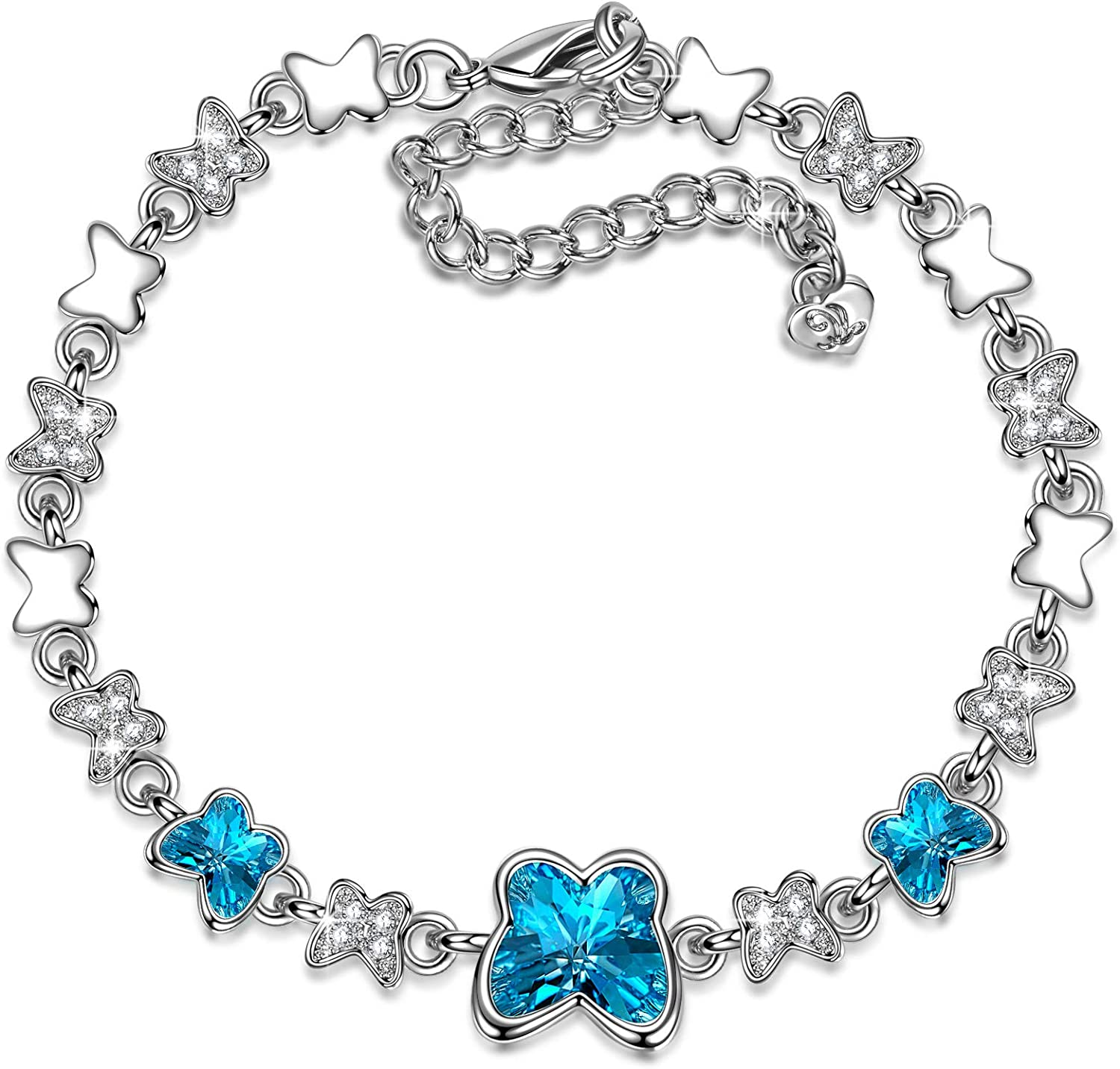 LADY COLOUR Mother's Day Jewelry Gifts for Mom, Blue Butterfly Stylish Swarovski Crystal Necklace/Bracelet for Women, Hypoallergenic Jewelry Gift Box Packing, Nickel Free Passed SGS Test