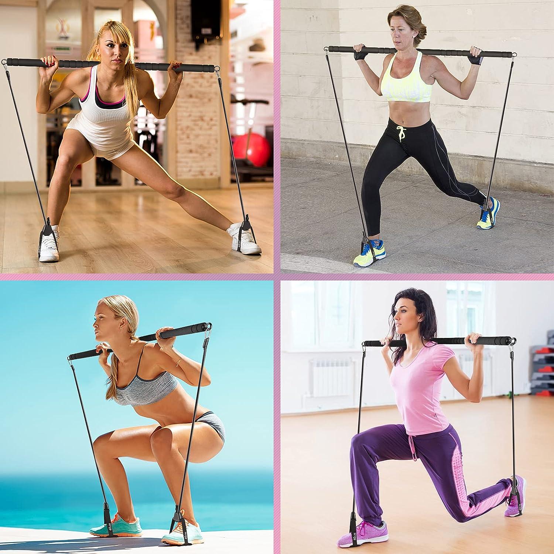 Pilates Bar with Adjutable Resistance Bands, Portable Fitness Equipment Workout Stick Squat Yoga Pilates Flexbands Kit
