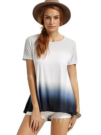 90020fdec2 Romwe Women s Short Sleeve Tie Dye Tunic Tops Casual Swing Tee Shirt Blouse  White XXS