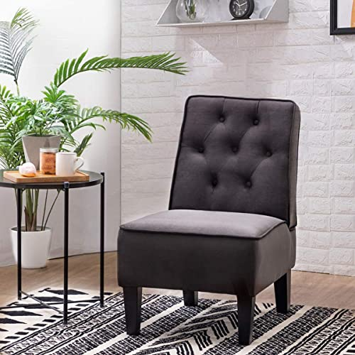 Alunaune Modern Armless Accent Chairs Upholstered Slipper Chair Single Sofa Comfy Small Couch