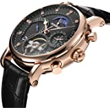 BINSSAW Mens Mechanical Automatic Watches for Men Tourbillon Luxury Leather Sport Man Watch Relojes de Hombre