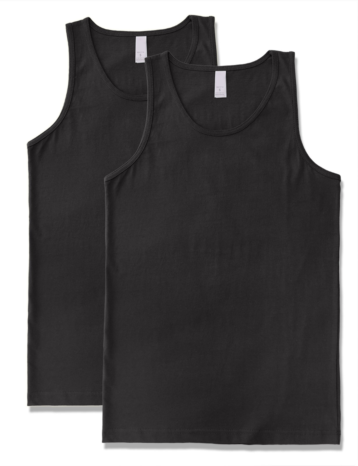Men's Premium Basic Solid Tank Top Jersey Casual Shirts 2XL Black X 2