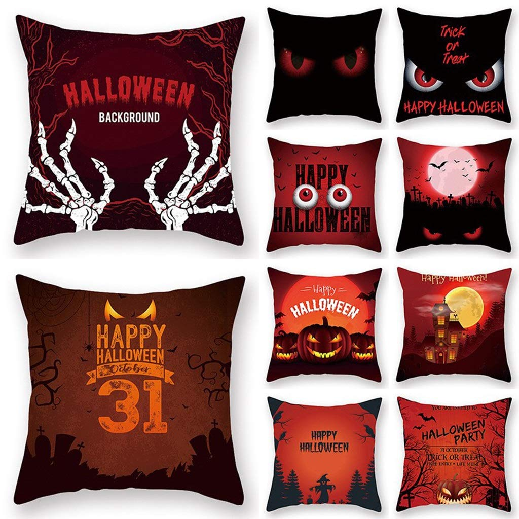 HappyL 10-Piece Suit Halloween Letter Pattern Pillow Case Cushion Case Pillow Cover Home Decor Pillowcases Sofa Decorative 18 x 18inch(Includes 10) (Color : B, Size : 45cm×45cm) by HappyL