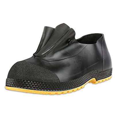 "Servus SuperFit 4"" PVC Dual-Compound Slip-On Men's Overshoes, Black & Yellow (11003-Bagged): Home Improvement"
