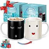 IPOW 2 Pack Color Changing Mug Magic Mug Heat Changing Mugs For Morning Coffee Tea Milk Ceramic Coffee Mugs Heat Sensitive Mu