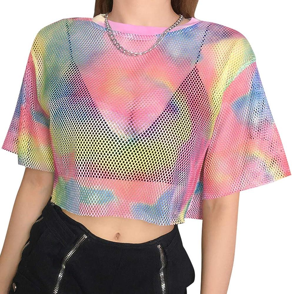 Flyrose. Camiseta de rejilla con manga corta para mujer, ideal para festivales, fiestas y clubs - Multi - Small: Amazon.es: Ropa y accesorios