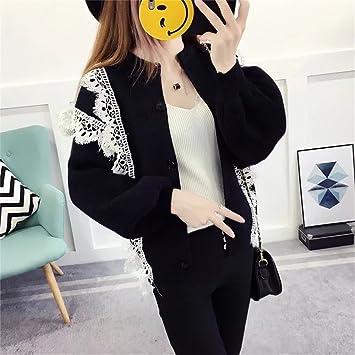Knitted Cardigan Sweater Cardigan Chaqueta Estilo Corto Vestido de Encaje de Moda suéter,Black,F: Amazon.es: Deportes y aire libre