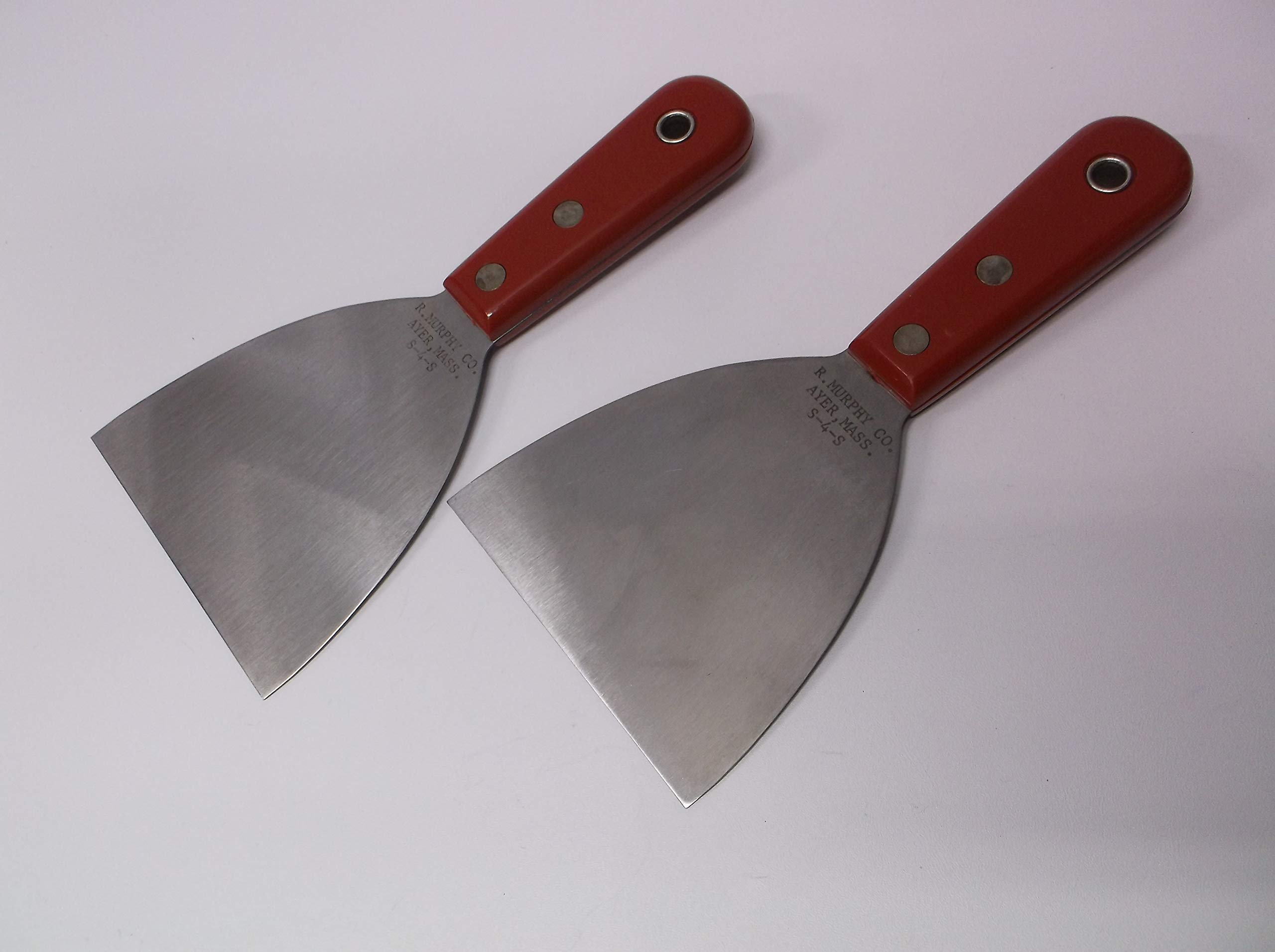 R Murphy USA Set of (2) Scrapers Tools S-4-S Shamrock Brand 4 inch Blade New - Non Beveled Edge Stiff Stainless Blades High Impact Red Handles
