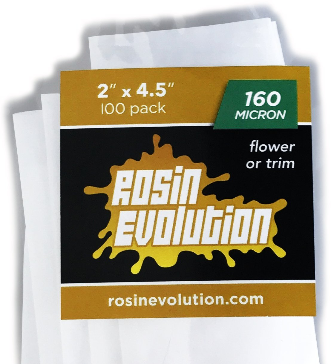 Rosin Evolution Press Bags - 160 micron screens (2'' x 4.5'') - 100 pack by Rosin Evolution