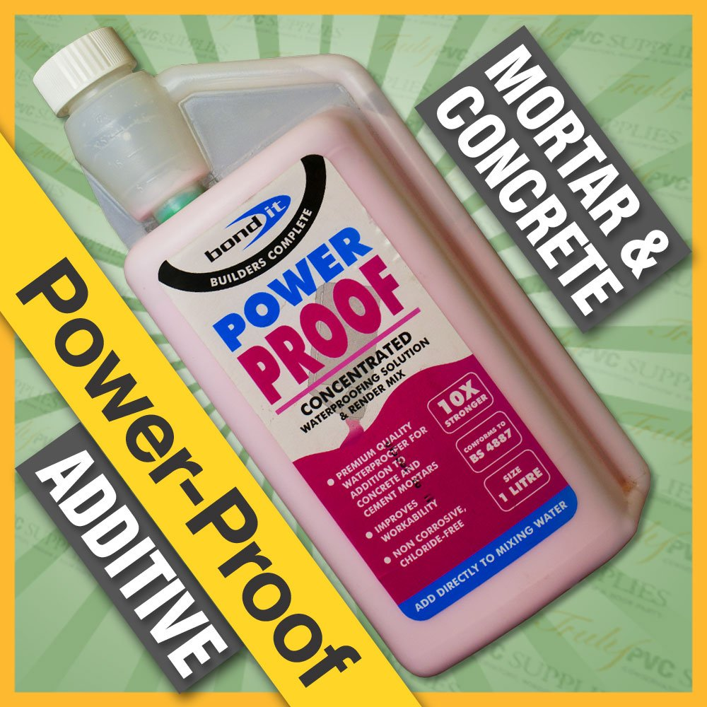 Bond-It Power Proof 1 Litre - Waterproofer & Plasticiser - A concentrated addidtve that waterproofs & improves the plasticity of the cement, mortar or concrete mix. Resists water penetration even under load like swimming pools, tanks or retaining walls etc