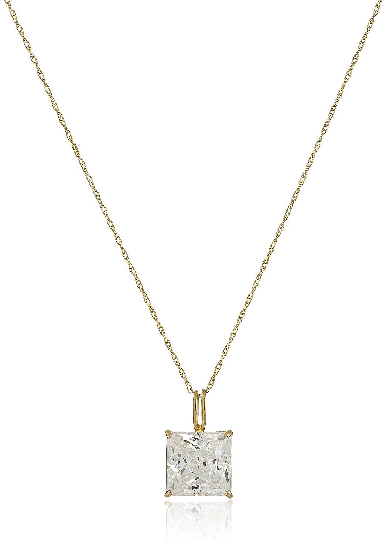 "10k Gold Princess-Cut Solitaire Pendant Made with Swarovski Zirconia, 18"""