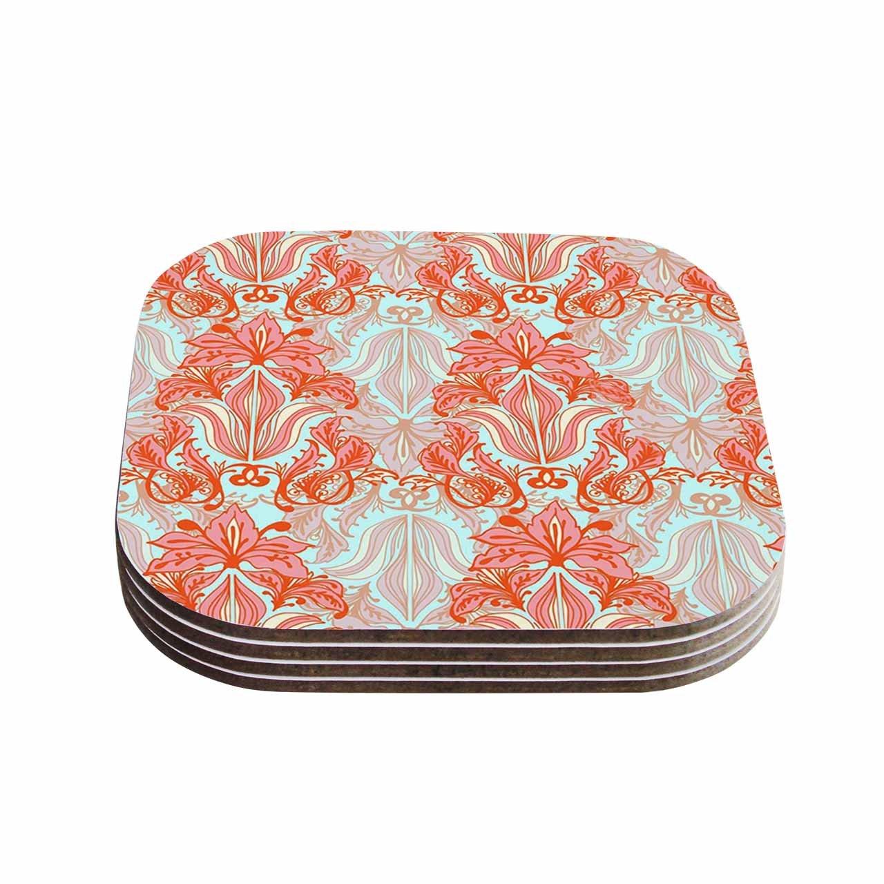 Multicolor KESS InHouse Amy ReberBaroque Orange Pattern Coasters 4 x 4 Set of 4