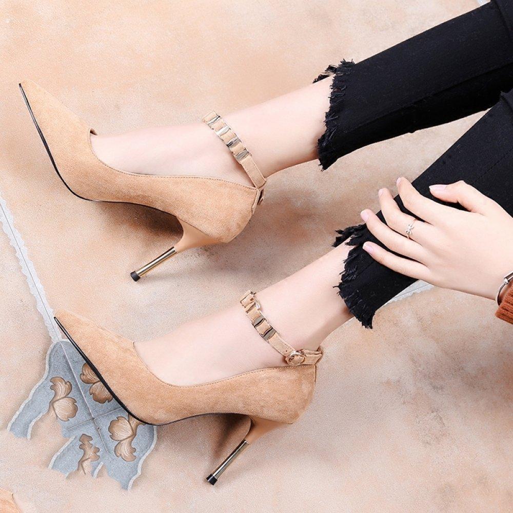 WLG Stilettos con Hebilla Salvaje Hebilla de Tacones Altos con Zapatos de Boca Baja Puntiagudos,Marrón,35 35|marrón