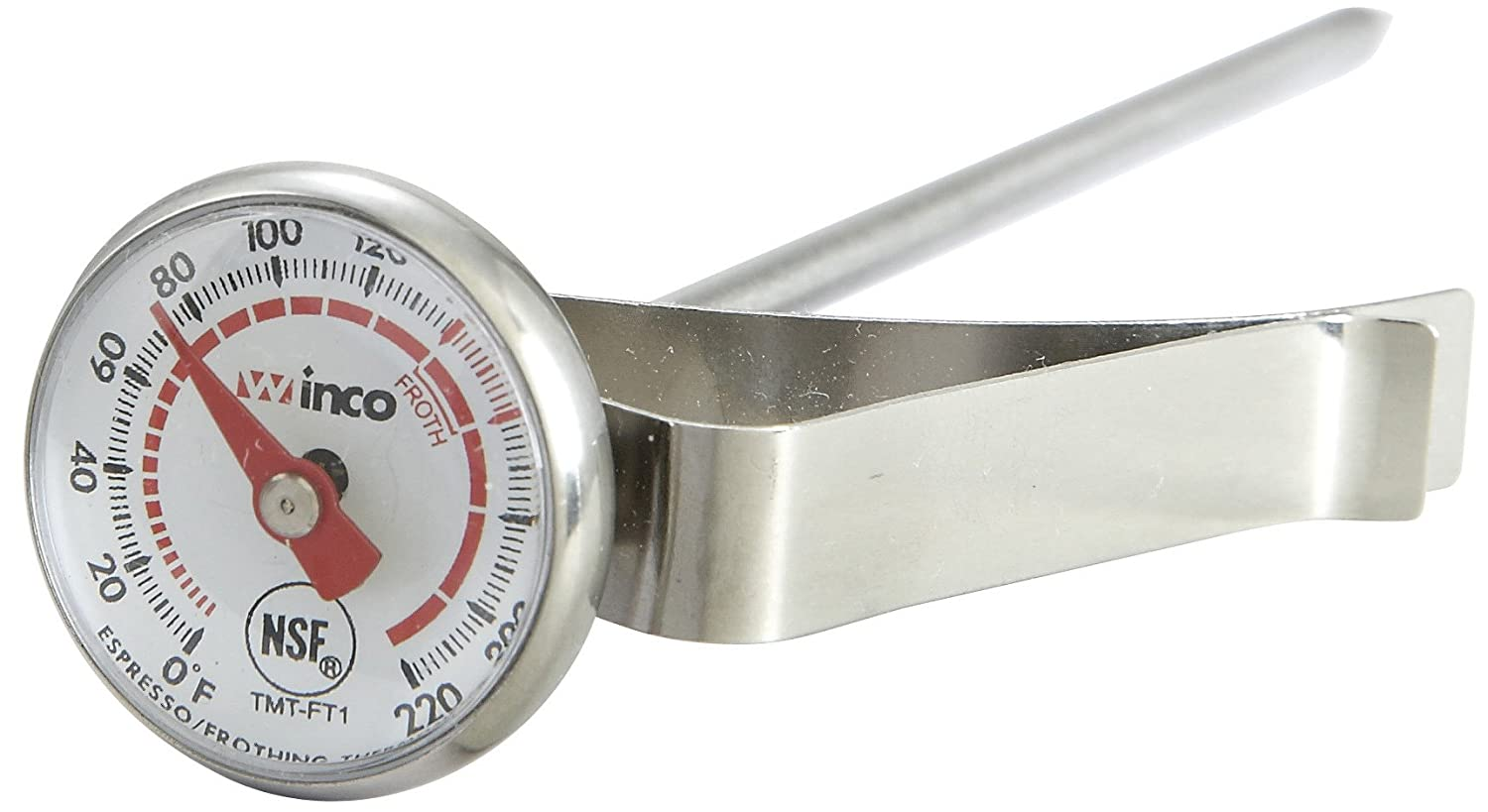 Winco 1-Inch Dial Frothing Thermometer with 5-Inch Probe