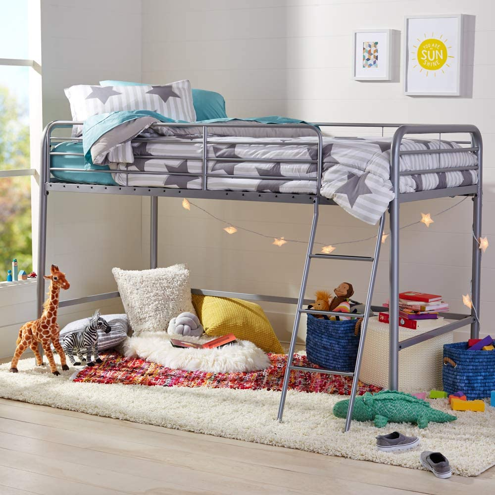 AmazonBasics Metal Twin Loft Bed, Easy Assembly, Silver