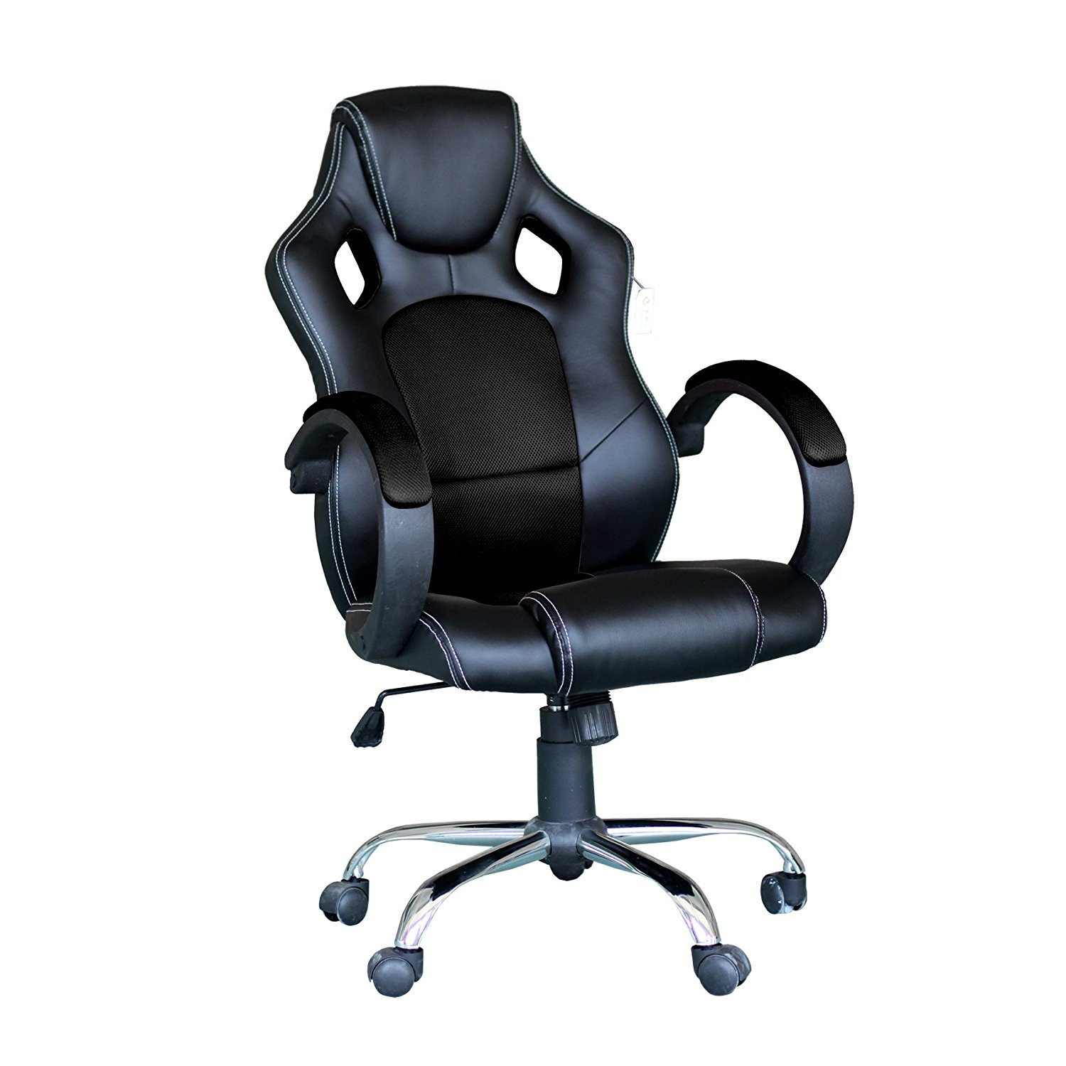 EBS Video Gaming Chair Home Office Computer Chair with Height Adjustable Ergonomic Lumbar Support Mesh High Back Ra (Black)