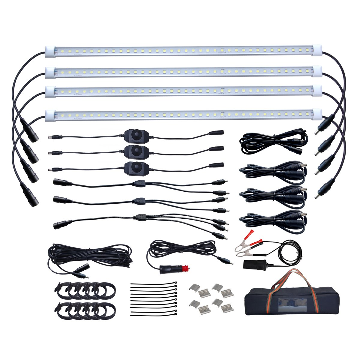 Dream Lighting Dimmable Led Strip Camping Lights Kit Waterproof 12 Volt Light Wiring Diagram Free Picture Connectable Extendable Four Warm White Bars For Fishing Tent Under Shed