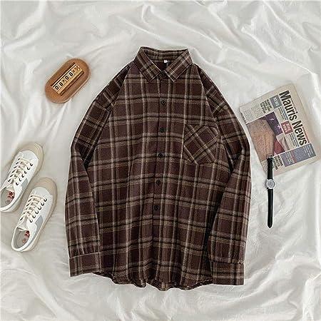 A-HXTM Camisa Mujer Camisa A Cuadros Blusa De Gran Tamaño ...