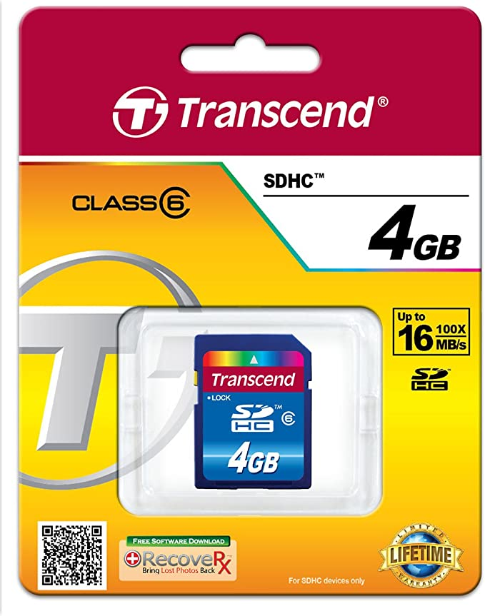 Transcend TS4GSDHC6 4GB Class 6 SDHC Flash Memory Card