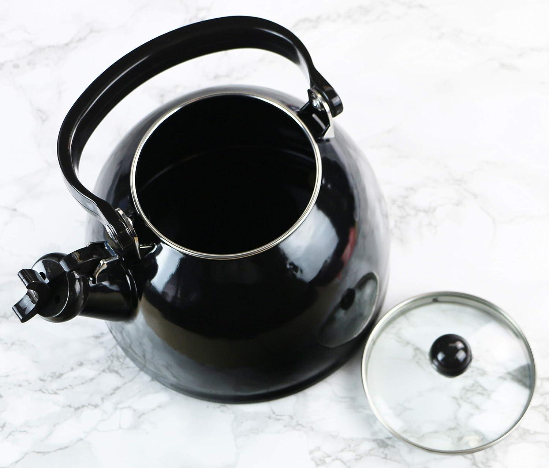 2.2-Quart Black Reston Lloyd Calypso Basics Whistling Tea Kettle with Glass Lid