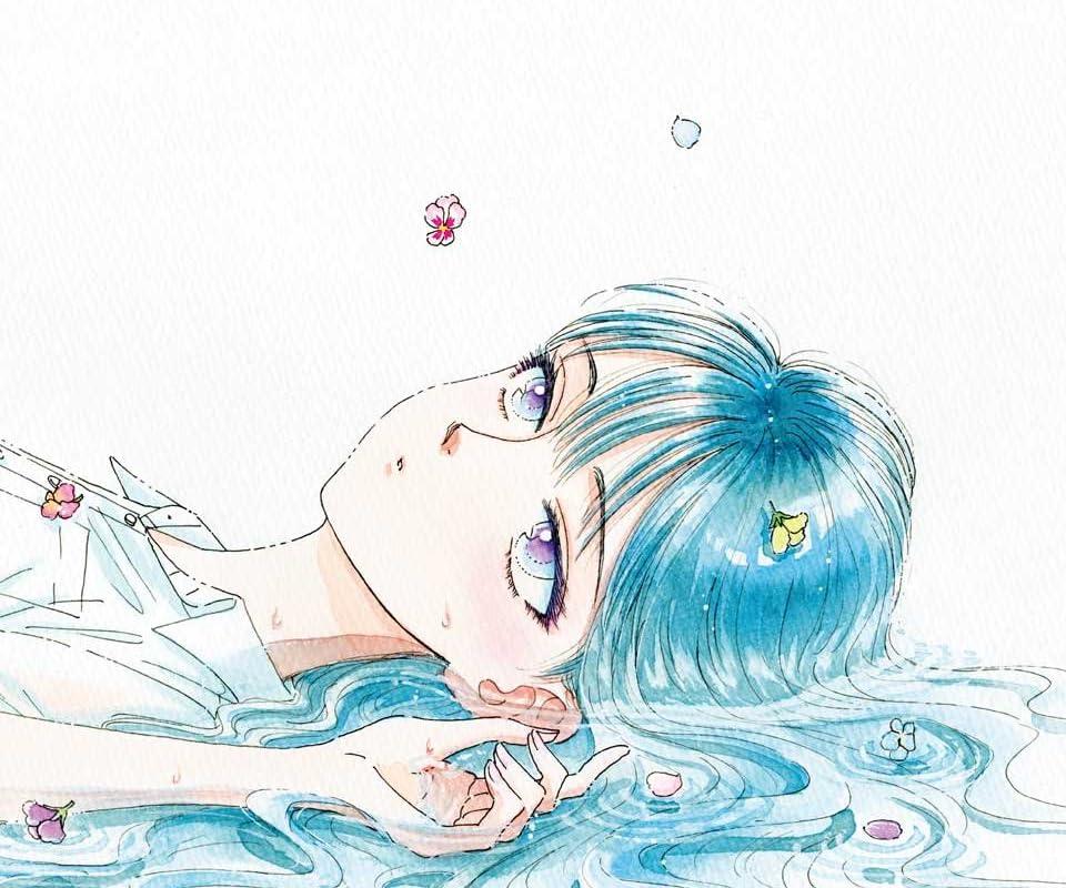 花と横たわっている橘あきらの『恋は雨上がりのように』の壁紙