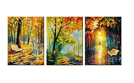 AMC ART 3 Paneles Lienzo Impresión Pared Arte Parque Maple ...