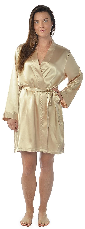 chic Leisureland Women\'s Kimono Satin Robe, Solid Dressing Gown ...