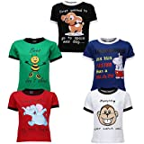 Goodway Boys Pack of 5 Theme Did you knowTheme Printed T-shirts(JB5PCKDYK-1_MultiColor)