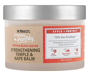 Dr. Miracle's Strong & Healthy Temple & Nape Balm. Contains Aloe Vera and Black Castor Oil for length retention and growth.