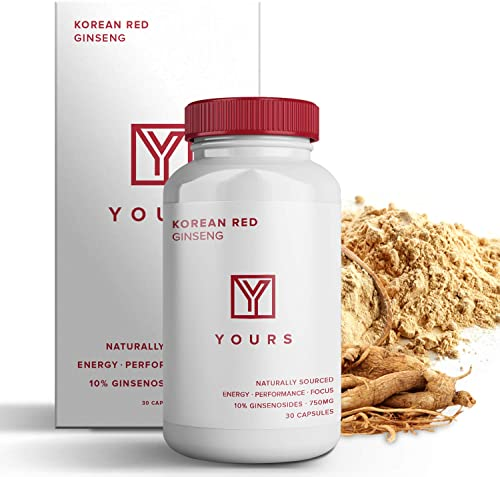 Authentic Korean Red Panax Ginseng – 10 Ginsenosides – Organic 750mg Korean Red Ginseng – 30 Day Supply – Potent Red Ginseng Boosts Energy Focus – Korean Ginseng Amplifies Cognition
