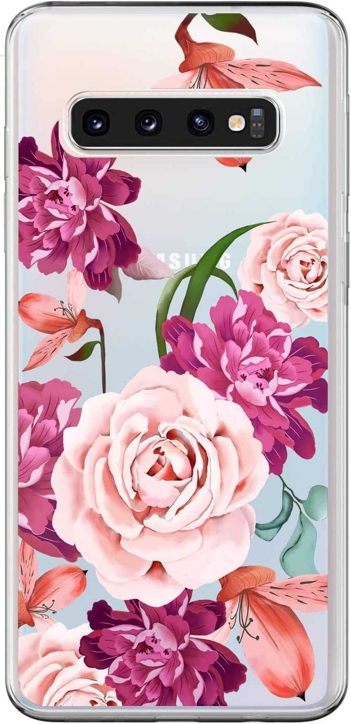 3 x Gemalt Handyh/ülle Case Ultrad/ünnen Weich Silikon TPU Schutzh/ülle Gesch/äft Bumper Anti-Kratzer Smartphone Cover,Lila Bl/üten,Rose,Rosafarbene Blumen Plus Mlorras H/ülle f/ür Samsung Galaxy S10