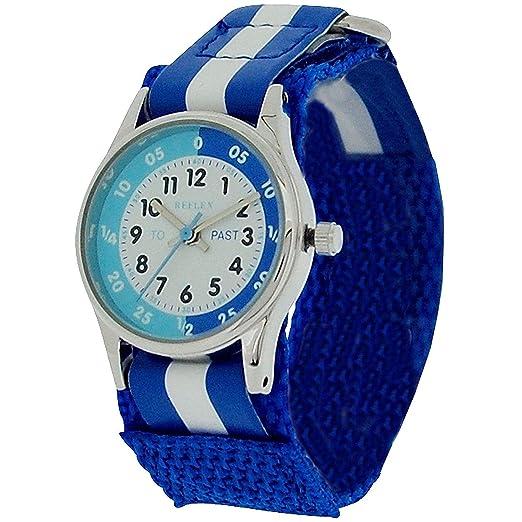 Reflex REFK0001 - Reloj para aprender la hora para niños tiempo (cierre fácil) con diploma condecorativo, color azul y blanco: Amazon.es: Relojes