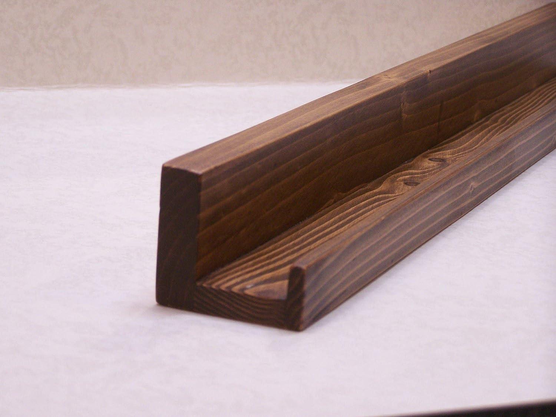 40 or 42 Inch Floating ledge Shelf Ultra Narrow 36 Dark Walnut Finish You Choose Your length 38 Picture ledge Shelf