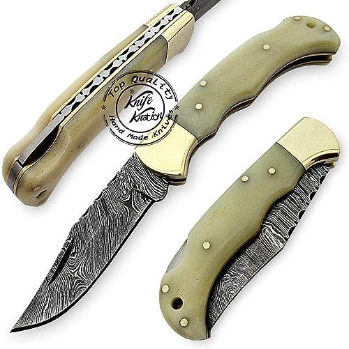 Camel Bone 6.5 100 Handmade Damascus Steel Folding Pocket Knife 100 Prime Quality