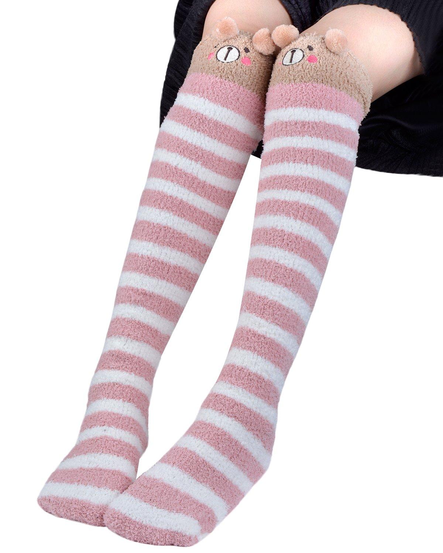 Slipper Socks, Aniwon Funny Animal Crazy Cotton Fleece Winter Indoor Outdoor Socks Christmas Knee Highs Stockings Over the Knee Thigh High Wool Warm Socks Leg Warmer for Women Girls