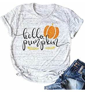 0a6d4c52 Thanksgiving Hello Pumpkin Funny T Shirt Womens Pumpkin Spice Letter  Printed Fall Graphic Tee Tops