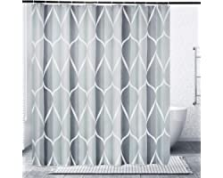 Gelbchu Grey Fabric Shower Curtain, Waterproof Design and Polyester, Quick-Drying, Weighted Hem, Shower Curtains Set for Bath