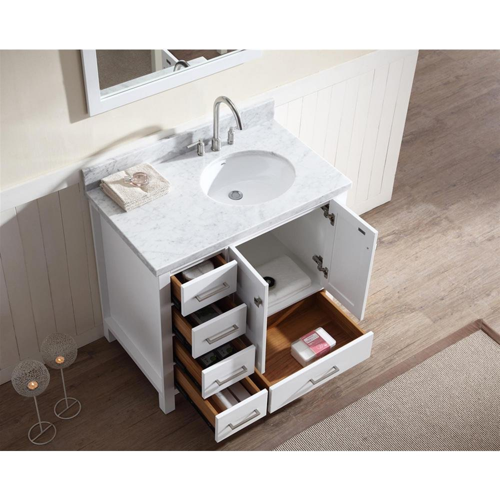 ARIEL Cambridge A037S-R-VO-WHT 37 Inch Single Right Offset Round Oval Sink Solid Wood White Bathroom Vanity Cabinet with 1.5 Inch Edge Carrara Marble Countertop and Backsplash