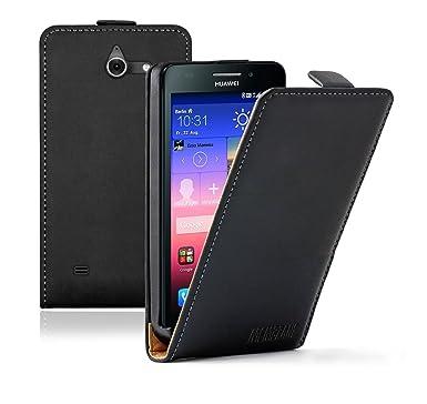 Membrane - Black Vertical Case for Huawei Ascend Y550 (Y550-L01, Y550-L02,  Y550-L03) - Flip phone cover with magnetic closure