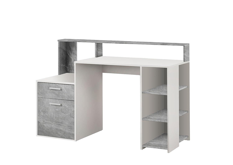 Unbekannt FMD Möbel Bolton Computertisch, Holz, weiß/Beton, 138.5 x 53.5 x 92.0 cm weiß/Beton FMD Möbel GmbH 3006-001