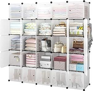YOZO Portable Cube Storage Modular Wardrobe Clothes Closet, Bedroom Storage Shelves Cube Organizer, Polyresin Bookshelf Units Multifunction Dresser Cabinet DIY Furniture, 25 Cubes