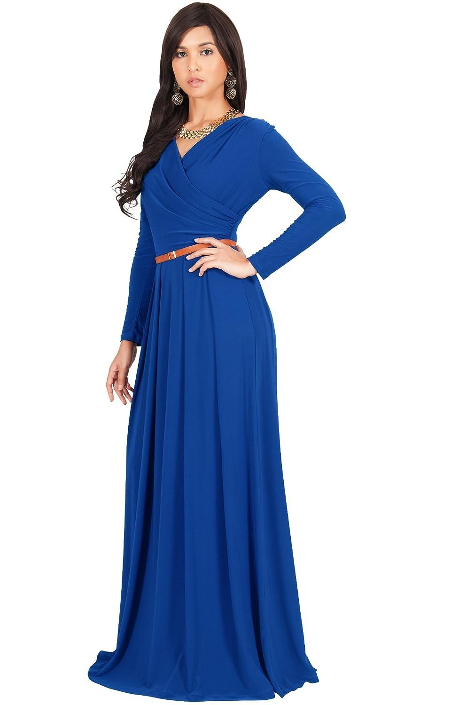 KOH KOH Womens Long V-Neck Full Sleeve Semi Formal Flowy Evening ...