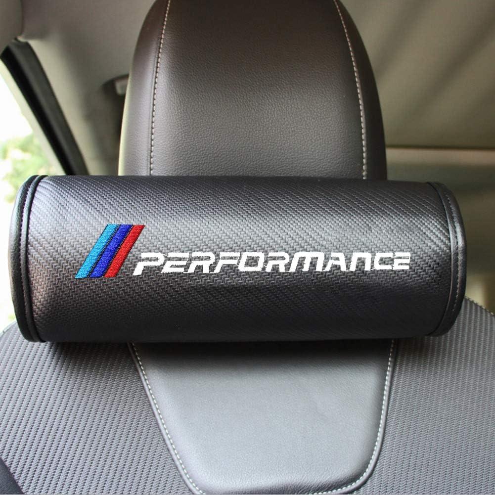 OYADM 2PCS Carbon Fiber Car Neck Pillow Black Soft Version Breathe Car Auto Head Neck Rest Cushion Headrest Pillow Pad for BMW